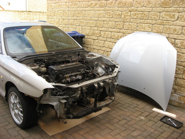 Car with bonnet removed