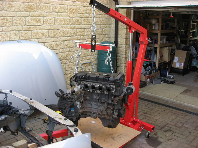 Engine removed from car