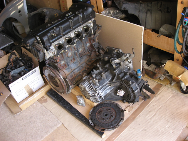 Engine, clutch and gearbox
